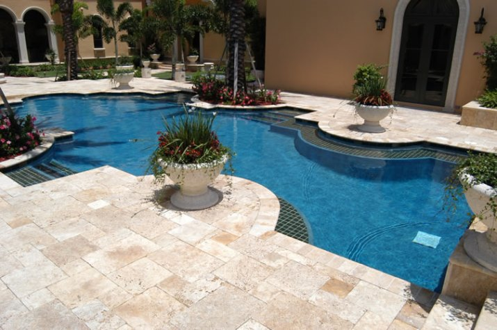 Classic pool tile swimming pool tile coping decking mosaics depth markers for Best thinset for swimming pool tile